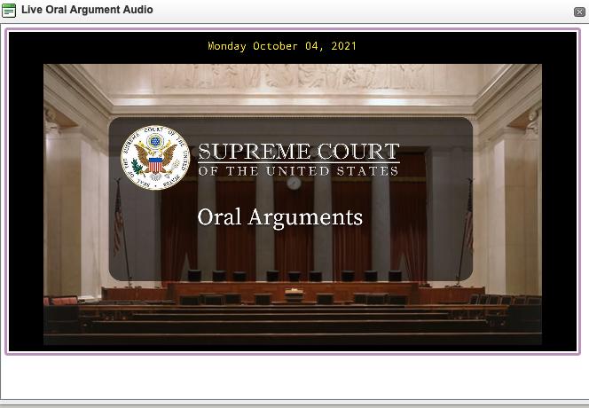Screenshot of oral arguments player on supremecourt.gov